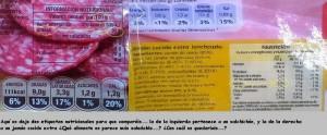 etiqueta jamon vs salchichón